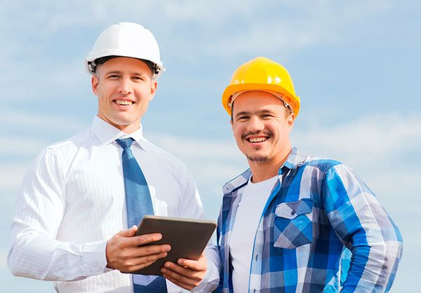 Two happy builders