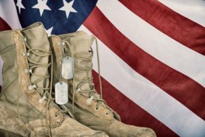 MIlitary boots and the USA flag