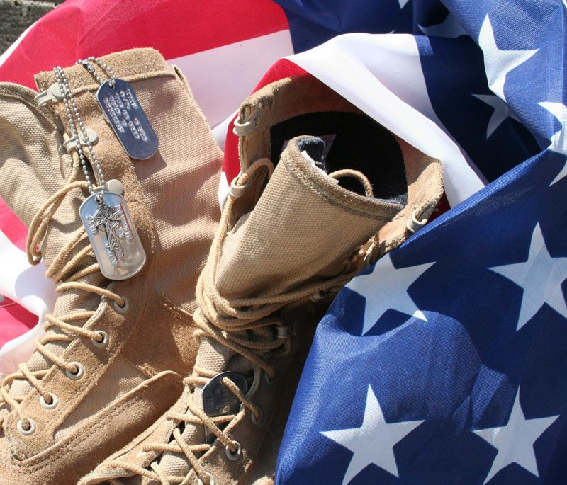 Boots on the USA flag