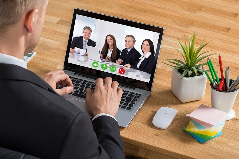 Businessman Video Conferencing On Laptop Art 2 L comp