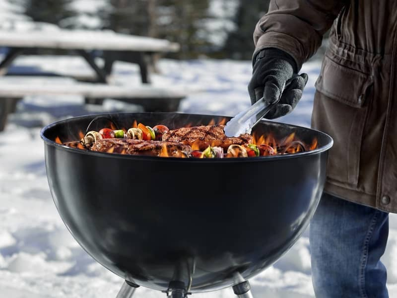 Outdoor Grilling In The Cold Winter